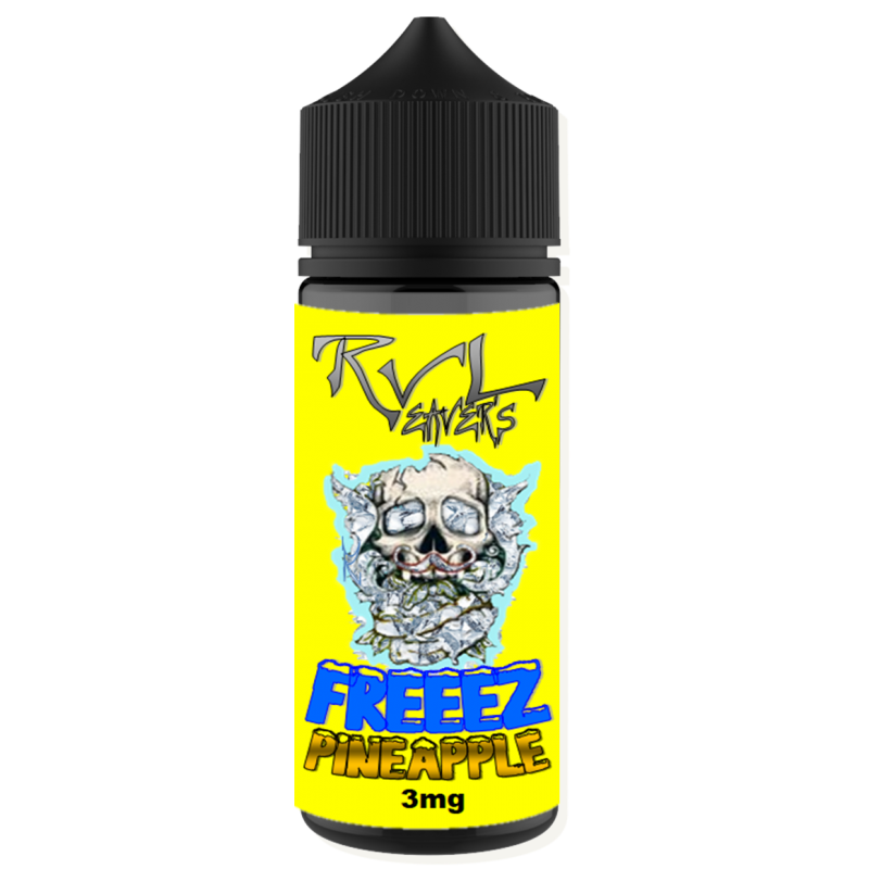 curved freeez pineapple label curved on bottle